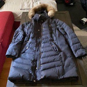 michael kors long winter jacket with faux fur hood